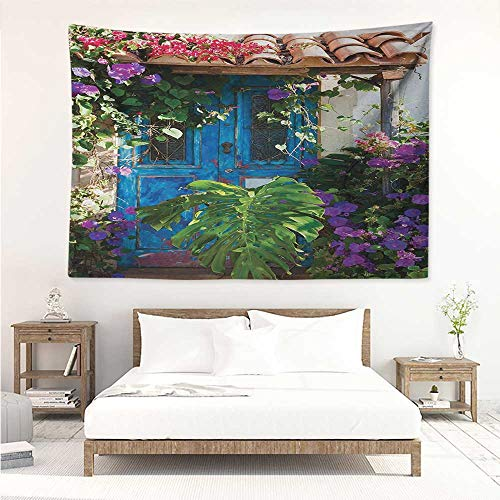 alisos Rustic,Wall Decor Tapestry Charm of Old Door with Overgrown Exotic Flower Petals and Palm Leaves Scene Artwork Print 93W x 70L Inch Tapestry Wallpaper Home Decor Multi