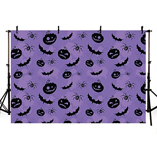 COMOPHOTO Halloween Photography Background 7x5ft Bat Jack Lanterns Purple Photo Backdrop Scare Night Decoration Backdrops for -