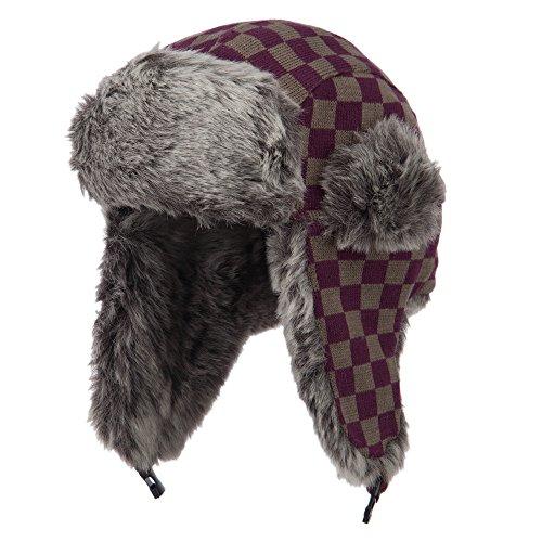 Jacquard Checkered Trooper Hat - Purple OSFM