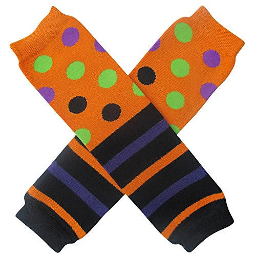 Halloween Costume Spooky Styles Holiday Leg Warmers - One Size - Baby, Toddler, Girl (Halloween Stripe & Polka Dot) (Halloween Leg Warmers Toddler)