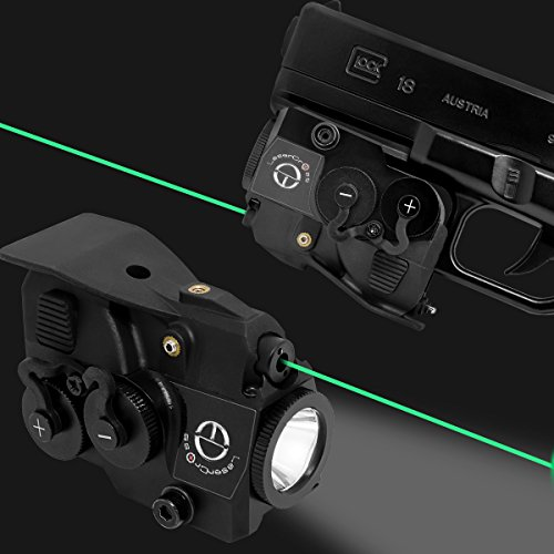 Lasercross 2in2 Compact Green Dot Laser Sight,350Lumens Flashlight Combo with 20mm Rail Picatinny On/Off Switch for Air Pistol,Airgun,Pistols,Handgun,Shotguns,Rifle etc ()