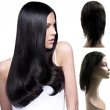 eDealMax humano pelucas de Pelo derecho 18 del frente del cordón pelucas de Pelo del bebé