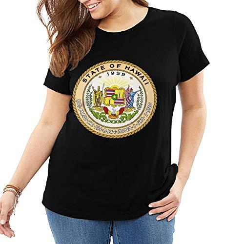 - Big Size Women's T-Shirt Seal of The State of Hawaii Logo Women's Plus Size Short Sleeve T-Shirt 3XL Black