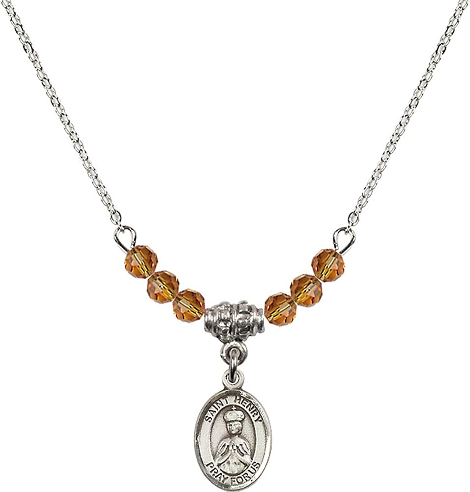 18-Inch Rhodium Plated Necklace with 4mm Topaz Birthstone Beads and Sterling Silver Saint Henry II Charm.
