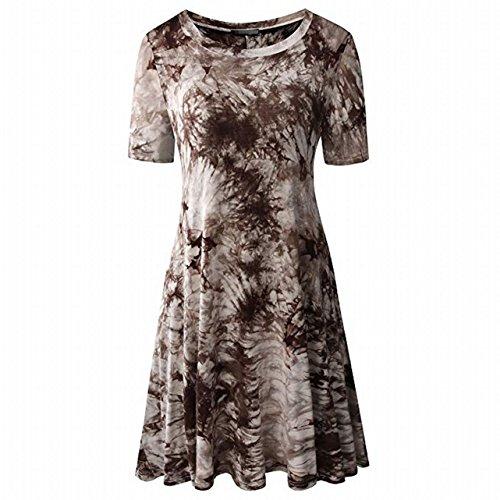 Tie Dye Tunics Summer Casual Dress Short Sleeves Flowy Loose A-line (Brown)