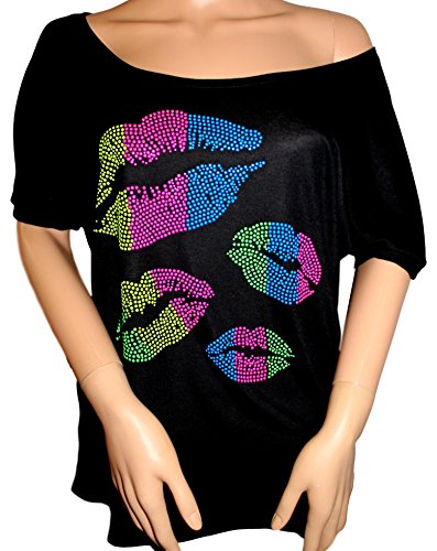 Ladies Scoop Neck Rhinestone Tee (FanGarb Rhinestone 80's Clothes For Women 1980s Neon Lips Slouchy Tee Shirt (Scoop Neck Black, Small))