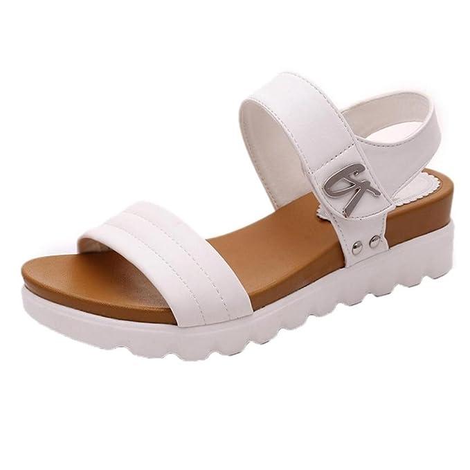 8207fe305de Sandalias Bohemia mujer, Manadlian Sandalias de verano para mujer Moda  Zapatos comodos Sandalias planas Playa Zapatos de tacón alto Zapatos de  boda: ...