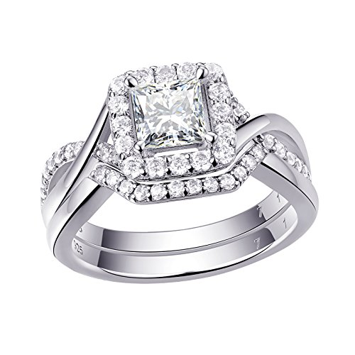 Newshe Engagement Wedding Ring For Women Bridal Set 925 Sterling Silver Princess White AAA Cz Size 7 by Newshe Jewellery