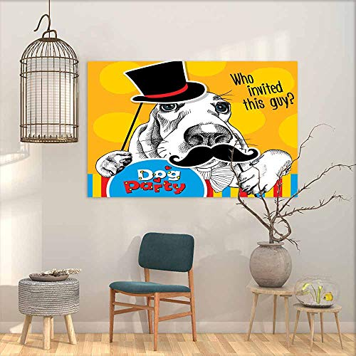 Basset Hound Photo Frame - Abstract Art Oil Painting Bright Festival Poster. Portrait of a Dog Basset Hound with Photo Booth Props. Vector Illustration. Decorative Painted Sofa Background Wall W47 xL31