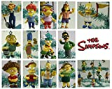 Set of 14 The Simpsons Christmas Tree Ornaments Featuring Homer Simpson, Marge Simpson, Bart Simpson, Ned Flanders, Rod Flanders, Todd Flanders, Gounds Keeper Willie, Milhouse Van Houten, Ralph Wiggum, Otto, Sideshow Mel and Other Simpson Character Orname