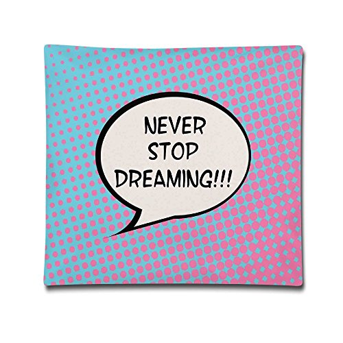 Unisex Retro Never Stop Dreaming Pop Art Thinking Bubble Ombre Digital Polka Dots Motivation 18X18 Inch Cotton Polyester Decorative Home Decor Sofa Couch Desk Chair Car Square Throw Pillow Case White (Chair Inflatable Thinking)