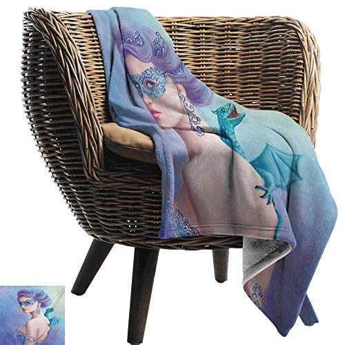 BelleAckerman Picnic Blanket,Winter,Fantasy Snow Queen in Mask with Dragon Artistic Illustration Print,Violet Blue and Pale Green,Colorful | Home, Couch, Outdoor, Travel Use 60