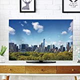 iPrint LCD TV dust Cover Strong Durability,City,Manhattan Skyline with Central Park in New York City Midtown High Rise Buildings,Blue Green Ivory,Picture Print Design Compatible 42'' TV