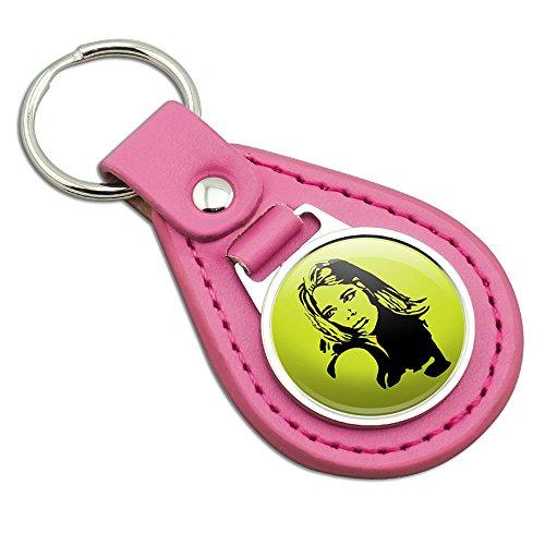 Mod Vintage Pop Art 60s Girl Pink Leather Metal Keychain Key Ring