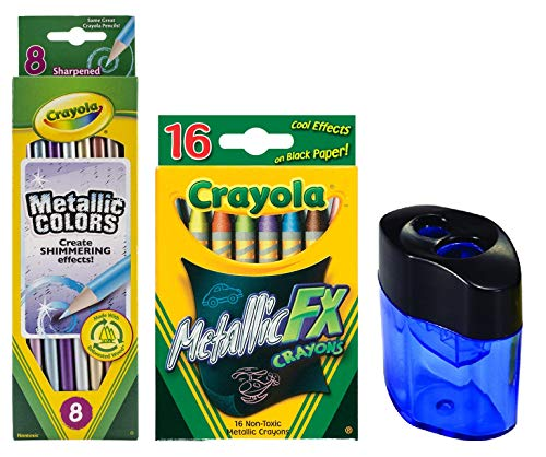 Crayola 16CT Metallic FX Crayons |Metallic FX Colored Pencils - 8 Pencils | Crayon and Pencil Sharpener