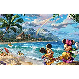 Ceaco Thomas Kinkade The Disney Collection Mickey and Minnie in Hawaii Jigsaw Puzzle, 750 Pieces