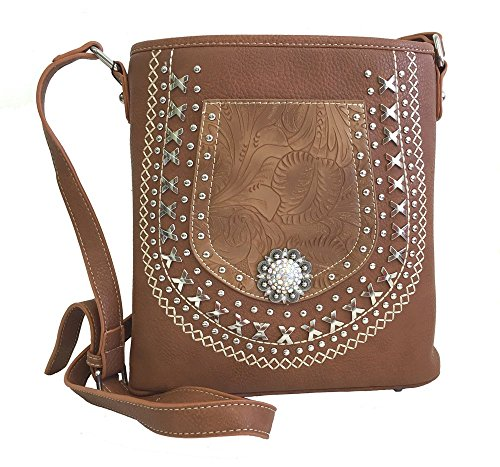 Montana West Concealed Gun Messenger Purse Cross Body Tooled Pocket Concho Brown -