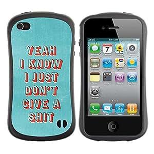 """Hypernova Slim Fit Dual Barniz Protector Caso Case Funda Para Apple iPhone 4 / iPhone 4S [Punk profundo metal gótico motivación""""]"""