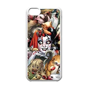 Hot US Comics Batman Humorous Role&Harley Quinn Background Case Cover for iPhone 5C- Personalized Hard Cell Phone Back Protective Case Shell-Perfect as gift