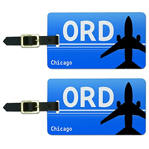 Chicago IL - O'Hare (ORD) Airport Code Luggage Suitcase ID Tags Set of - Ohare Il Chicago