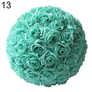 Artificial Faux Rose Ball Silk Flower Balls Hanging Ball Decor for Wedding Party Baby Shower Home Decoration - Blue qsbai 65