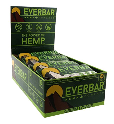 EverBar Green Power Protein Bar - 16 Bars - Hemp Protein - 14g of Protein per Bar - Only 6 Total Ingredients - Gluten-Free, Non-GMO, Dairy Free, Soy Free - Clean Energy - Meal (14g Protein)