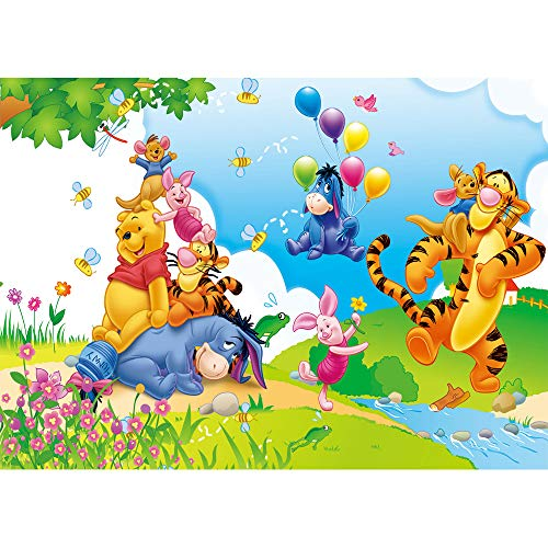 Winnie The Pooh Photography Background 7x5ft Cartoon Spring Outdoor Scenic Vinyl Backdrop Colorful Balloons Pink Flowers Photo Backgrounds Birthday for Kids Custom Baby Shower Photo Props ()