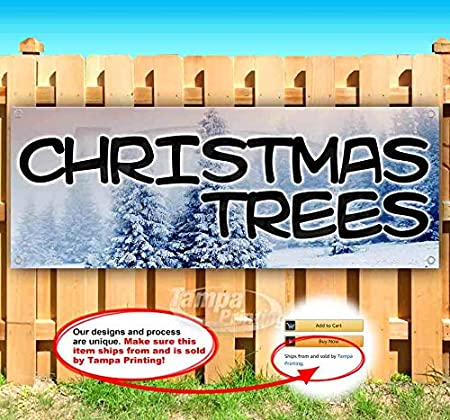 Christmas Trees 13 oz Heavy Duty Vinyl Banner Sign with Metal Grommets Advertising Store Many Sizes Available New Flag,