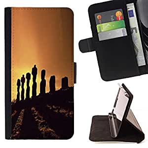DEVIL CASE - FOR Apple Iphone 6 - cool nature Easter island statue sunset - Style PU Leather Case Wallet Flip Stand Flap Closure Cover