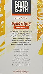 Good Earth Teas Organic Sweet and Spicy Caffeine Free Herbal 18 Tea Bags, 8 Count by Good Earth
