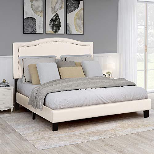 Upholstered Platform Bed Mattress Foundation with Headboard, Wood Slat Support Queen, Beige