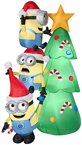 Gemmy Minions Decorating Tree Scene