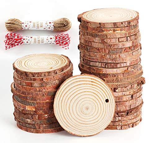 Unfinished Wood Slices 50 Pcs 2.4