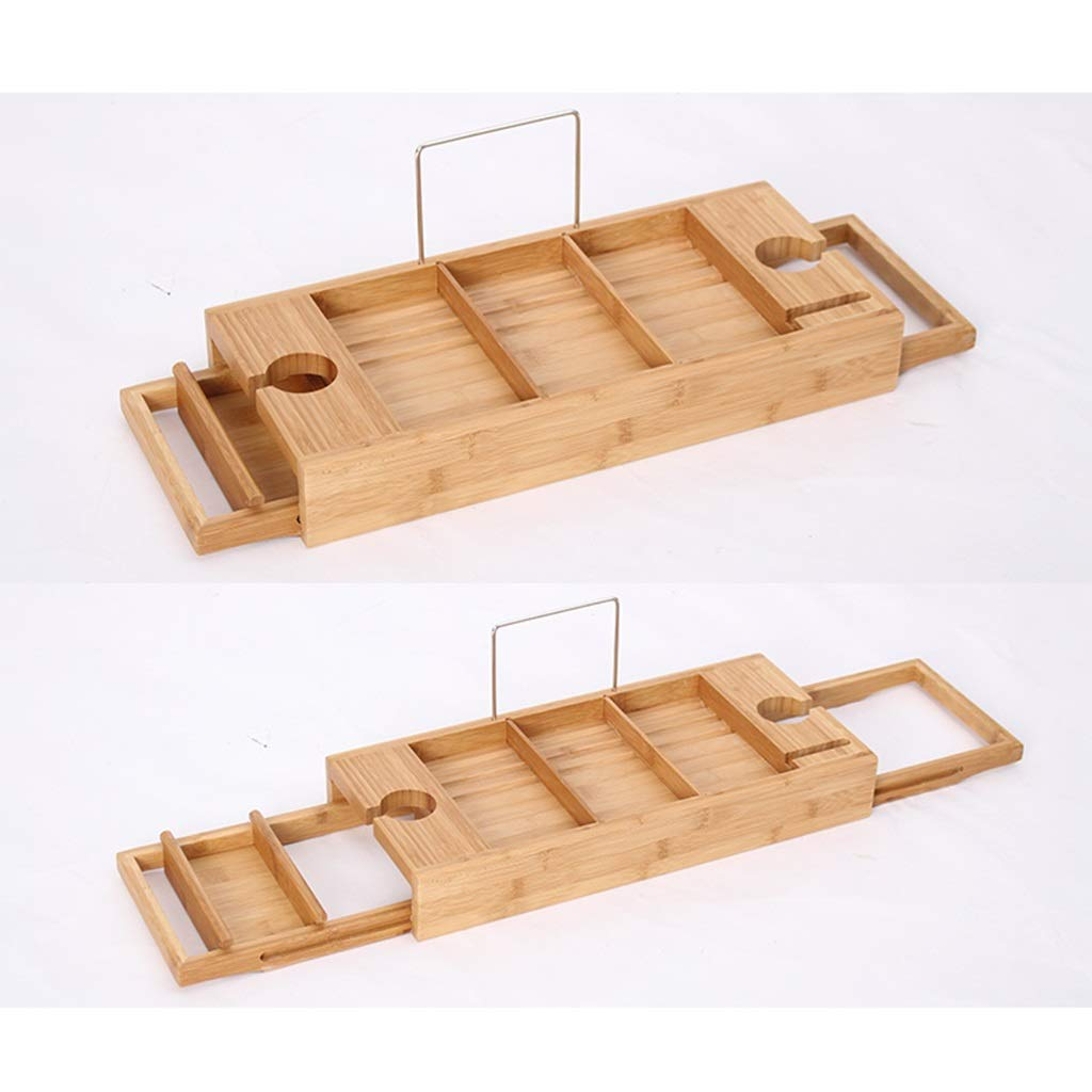 ZhaoLiRuShop Bathtub Trays Bath Caddy Bath Tray Bath Board Movable Multifunctional Bath Tub Rack Storage Panel Telescopic Non-Slip Bathtub Partition Bamboo (Color : Natural, Size : 74.519.6cm) by ZhaoLiRuShop (Image #2)