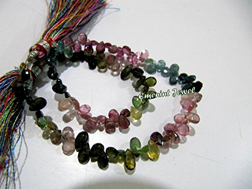 Beautiful Natural Multi Color Tourmaline Briolette Pear Shape Beads Size 3x5 mm Approx.Watermelon Tourmaline Beads sold per strand 8 inch - Pear Briolette Beads Gemstone