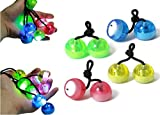 URBeauty 4Pcs Finger LED Yo-yos Light Up with Music Launcher Spinning Top Rainbow Colors Change Glow in the Dark Toy