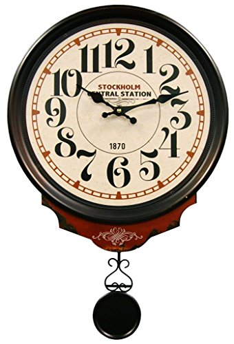 HDC International 05-0079 Wall Clock, Off-White, Central Station Round with Pendulum