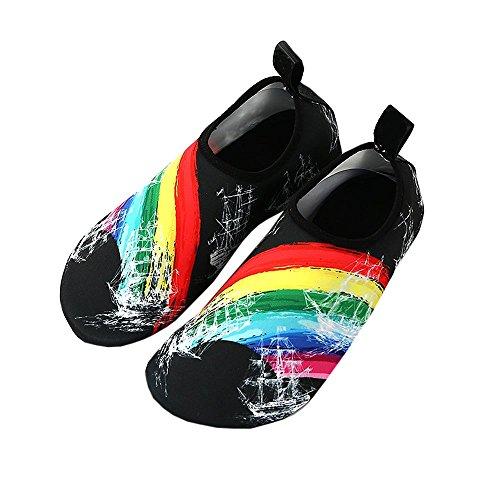 Mens Women Vann Sko Sports Svømme Sko Barbeint Rask Tørr Beach Surf Aqua Sko Rainbow