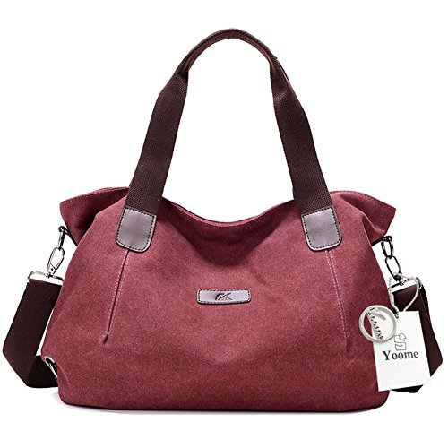 Yoome European Style Canvas Tote Top Handle Bag Shopping Hobo Crossbody Shoulder Bag Purse Red