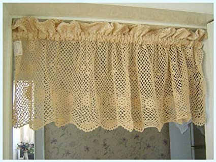 Amazoncom Vintage Hand Crochet Lace Cotton Cafe Curtainvalance