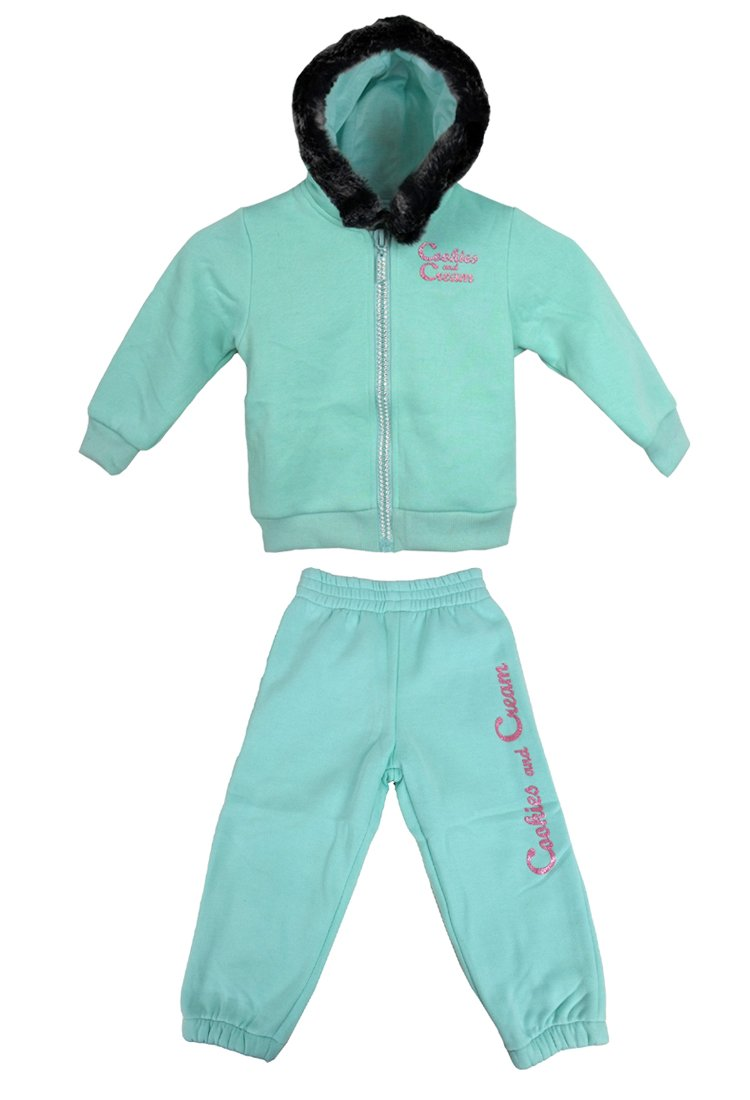 Cookies and Cream Little Girls Baby Infants Full Fleece Tracksuit Hoody Diamante Glitter Bling