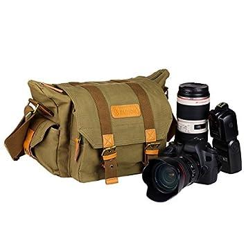 TARION Bolsa vintage moderna de lona para cámaras y lentes con forro delineador protector deformable