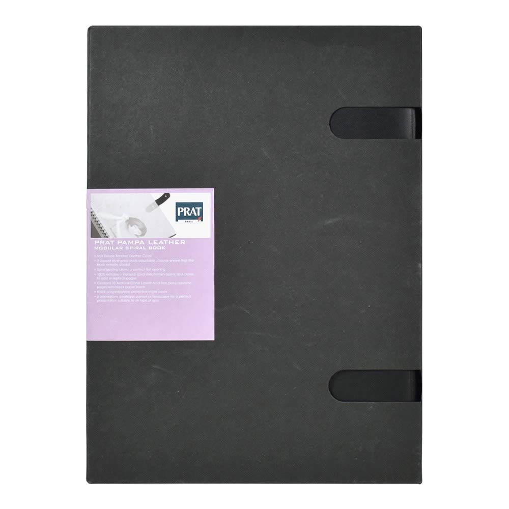 Prat Pampa 163 Spiral Book, Soft Bonded-Leather Cover with 10 Sheet Protectors, 17 X 11 inches, Black (163-17X11) by Prat