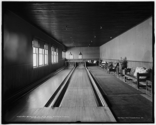 Vintography 8 x 10 Ready to Frame Pro Photo of Bowling Alleys Paul Smith's Casino Adirondack Mountains 1900 Detriot Publishing 14a