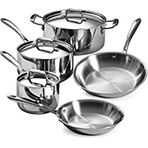 8-Piece 18/10 Stainless Steel Tri-Ply Clad Cookware Set