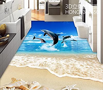 LWCX Floor Wallpaper Dolphin 3D Flooring PVC Custom Photo Self-Adhesive 3D Floor Home Decoration