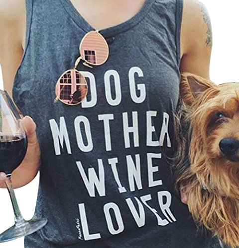 Dog Ladies Denim Shirt - Women's Summer Letters Print Sleeveless T-Shirt Dog Mother Wine Lover Tank Top Size US M/Tag L (Gray)