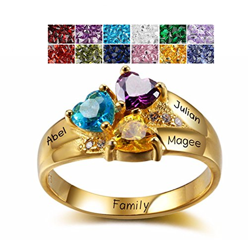 925 Sterling Silver Mothers Rings with 3 Birthstones 3 Names and 1 Engraving Customized and Personalized Gold Mother Daughter Ring