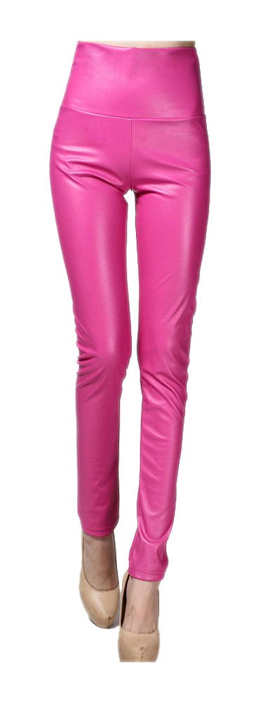 ARJOSA Women's Faux Leather High Waist Tights Skinny Leggings Pants (Rose Pink, Small)