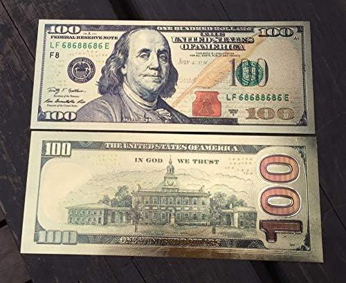 HENGTONGTONGXUN アメリカのUSA 100ドル紙幣ゴールド通貨ビル・紙幣コイン・メダル24K米国 使いやすい (色 : A)